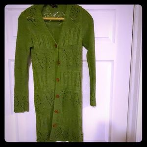 Gorgeous green crocheted duster